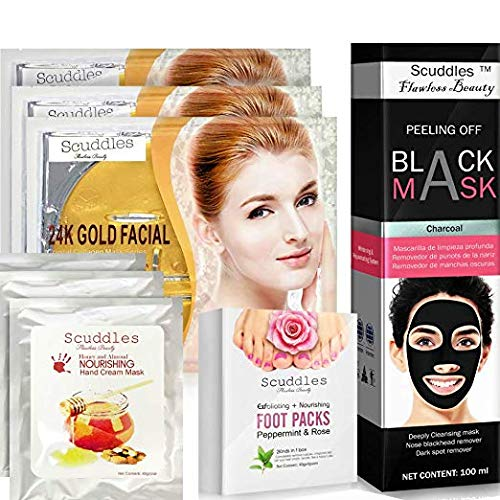 Blackhead Remover Hand Foot Masks - Complete Spa Mask Gift Set Kit, Includes blackhead mask, 3 Collagen Gold Mask Facial Care, 3 Hand Masks and 4 Pair Acne Cleansing, Anti Aging Men Women - Scuddles