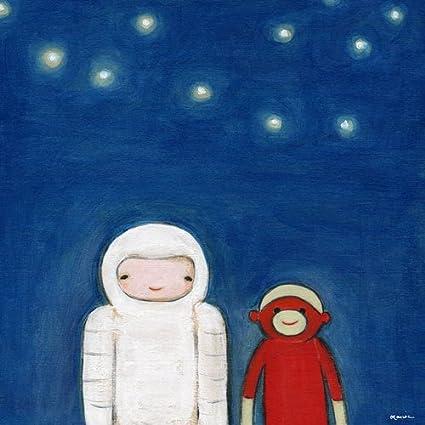 Oopsy Daisy Spaceman y calcetines de lienzo pared arte por Marisa Haedike, 18 por 45