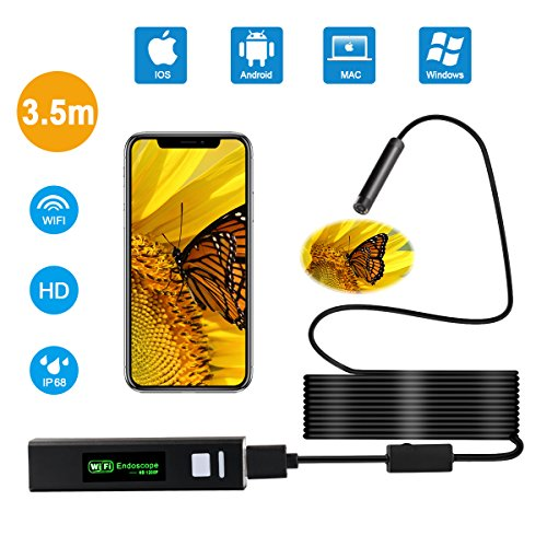 Wireless Endoscope Android,iPhone USB Endoscope Camera 2.0 Megapixels HD with 8 LED Adjustable Lights,Semi-Rigid Flexible Endoscope,IP68 Waterproof Endoscope for Samsung,Iphone,PC,Tablet,Mac