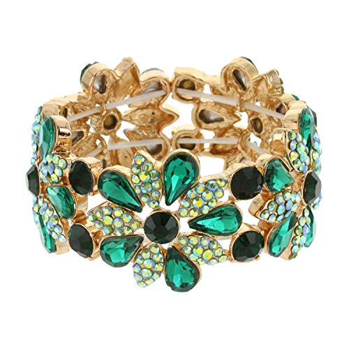 SP Sophia Collection Women's Floral Austrian Crystal Bangle Stretch Rhinestone Bracelet in Green