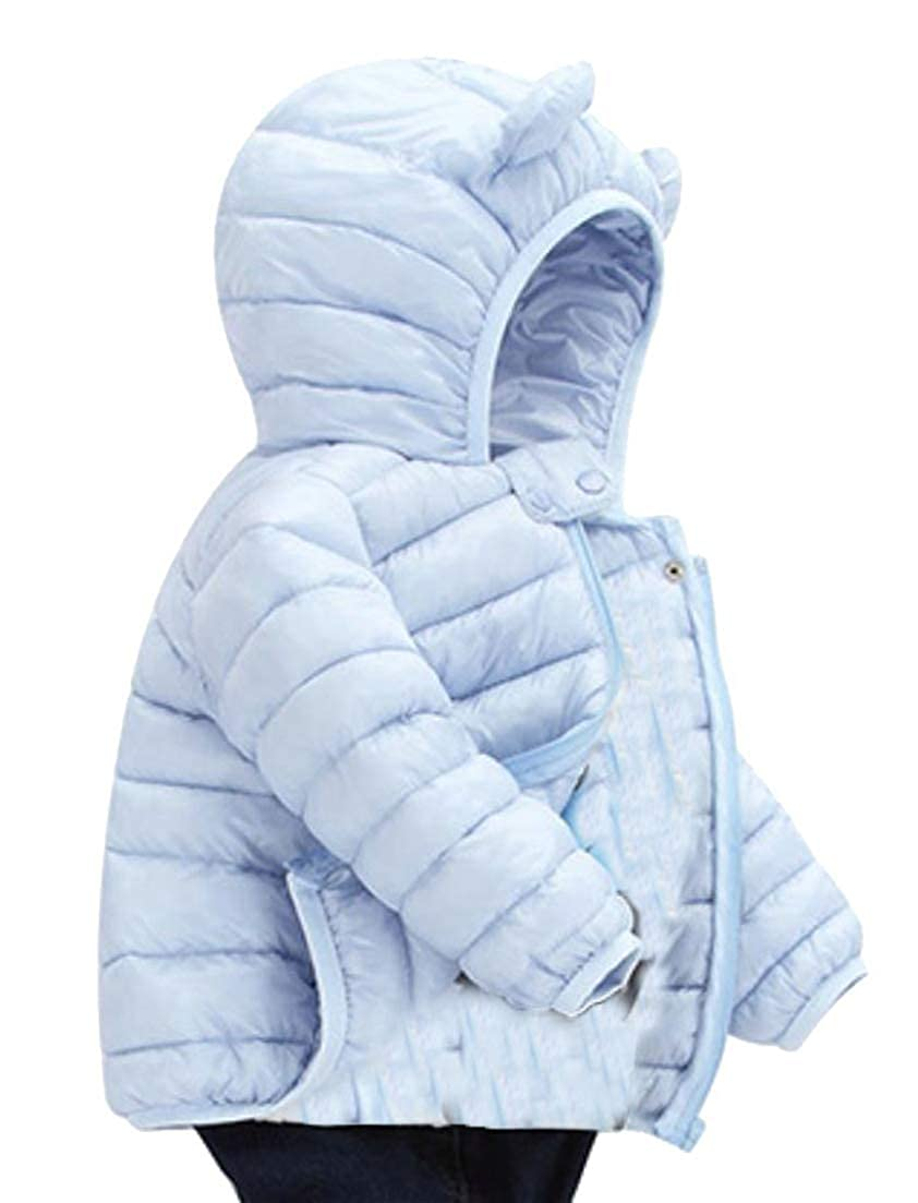 Cromoncent Girls Boys Hooded Lovely Parkas Quilted Overcoat Down Coat