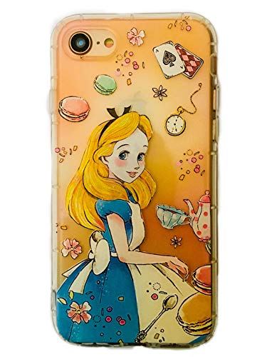 Phone Kandy Embossed 3D Anti Bump Shockproof Drop Proof Floral Clear Transparent Cute Cartoon TPU Silicone Case & Screen Guard (EMB03) (iPhone XR, Alice in Wonderland)
