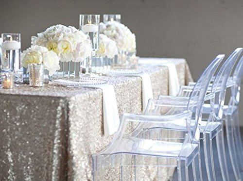 Trlyc Sparkly 10FT 90 Inch by 196 Inch Sparkly Silver Rectangle Sparkly Sequins Wedding Tablecloth for Wedding Event Banquet on Sale