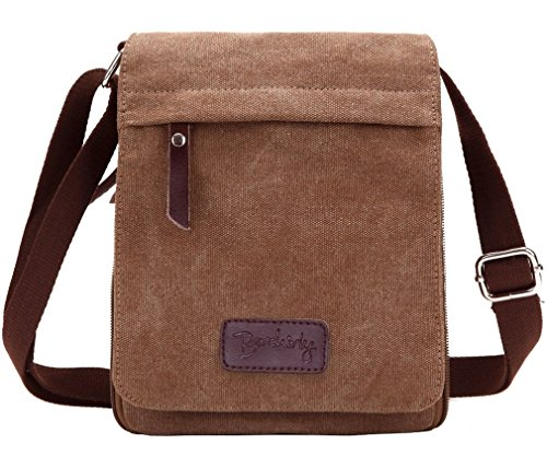Berchirly Small Vintage Canvas+Leather Messenger Cross body bag Pack Organizer for Travel Hiking Climbing