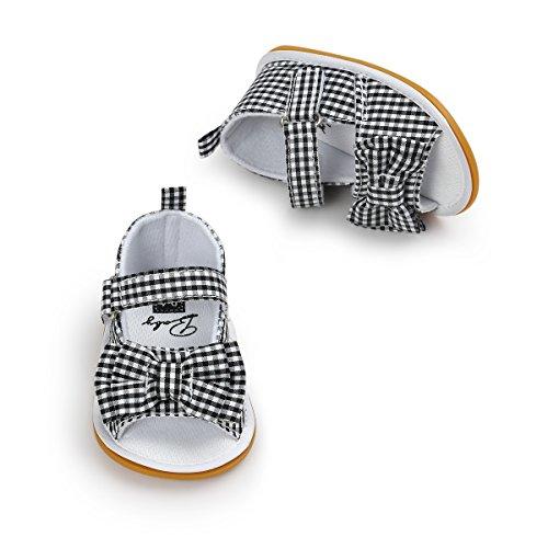 Itaar bebé niñas arco antideslizante suave suela de goma zapatos de sandalias de verano para lactantes y bebés (primera caminantes Black-White Grid Talla:12-18 meses Black-White Grid