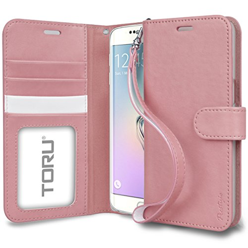 Galaxy S6 Edge Plus Wallet Case, TORU [Prestizio] Wristlet [Pink] Premium Leather Flip Cover Case with [CARD SLOT][ID HOLDER][KICKSTAND][WRIST STRAP] for Samsung Galaxy S6 edge+ - Pastel Pink