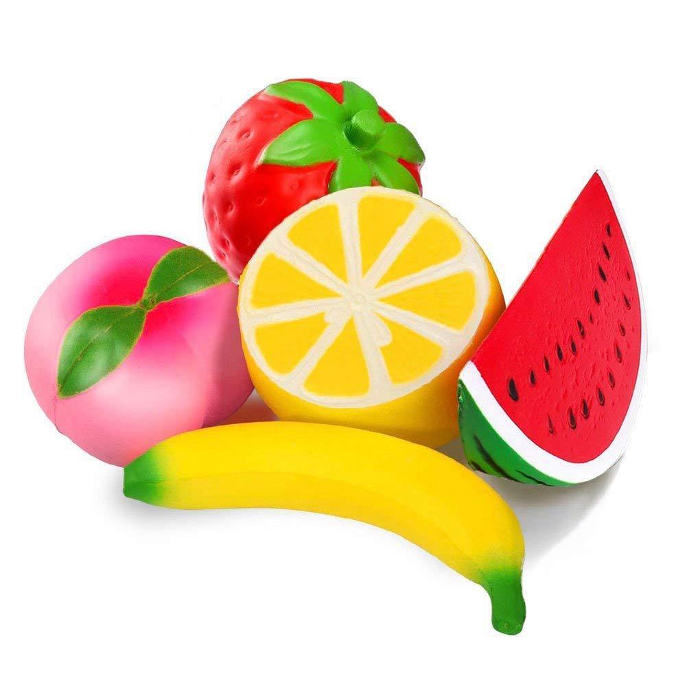 JVSISM 5 Pezzi Jumbo Slow Rising Strawberry Anguria Banana Peach Lemon Fruit Kawaii Charms profumati Mano Wrist Toys