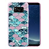 FINCIBO Case Compatible with Samsung Galaxy S8 G950 5.8 inch, Shiny Sparkling Pink Bling Glitter TPU Protector Cover Case for Galaxy S8 (NOT FIT S8+ Plus) - Mermaid Scales Blue Wave Ragged