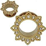 zero ear plugs - SoScene Gold Plated Stainless Steel Crystal Gems Flower Screw Back Ear Plugs Gauges Sold in Pairs (8MM-0 GAUGE )