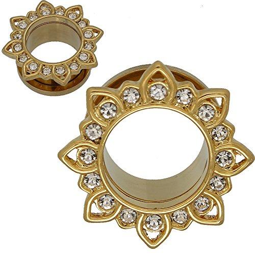 SoScene Gold Plated Stainless Steel Crystal Gems Flower Screw Back Ear Plugs Gauges Sold in Pairs (10MM-00 GAUGE )