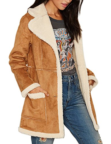Four Coat Shearling Button (Gameyly Women's Faux Suede Shearling Long Coat Outfit L Caramel Brown)