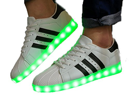 Oudy Couples 7 Colors USB Charging LED Shoes Nightclub Flashing Sneakers White US 7.5