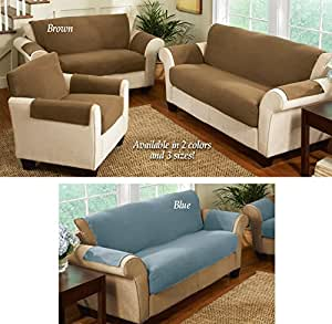 Fleece Living Room Furniture Covers Brown Chair Solid Fleece Machine Washable