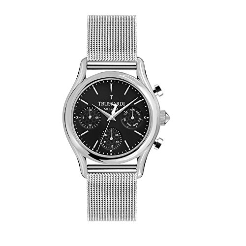 TRUSSARDI Men's T-Light Analog-Quartz Stainless-Steel Strap, Silver, 16 Casual Watch (Model: R2453127002) ()