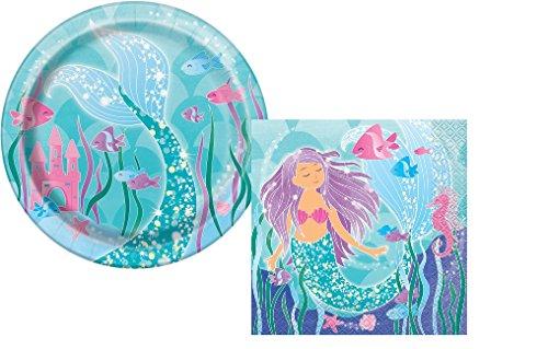 Mermaid-Birthday-Party-Plates-And-Napkins-Set-Girls-Birthday-Party-Mermaids-Serves-8