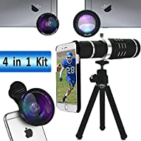 iPhone Telephone lens,Lingwei Telescope Camera lens kits with 18X Telephone lens / Wide angle / Fisheye / Macro / Tripod / Phone Holder / Hard Case / Bag / Cleaning Cloth