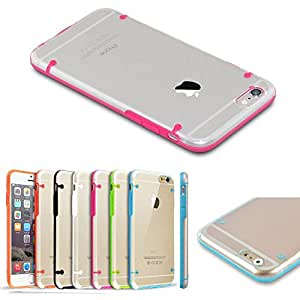 TopOne TPU Rubber Gel Ultra Thin Transparent Clear Protective Case Cover for iPhone HTC Deep Pink For iPhone 6 4.7''