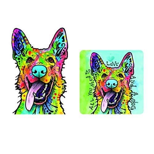 Sticker Dog Shepherd (Enjoy It Dean Russo German Shepherd (Love and a Dog) Car Sticker & Air Freshener Set)