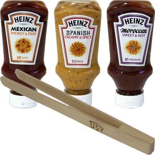 Heinz-exotisch-scharfe-Grillsaucen-Testpaket-SpanishMoroccan-und-Mexican-mit-usy-Holzgrillzange-3-x-220ml-Squeezer-Flasche