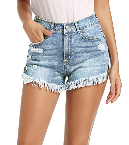 NEWFANGLE Women\' Casual Denim Jean Shorts,Mid-Rise Frayed Raw Hem Ripped Hot Short,Light Blue,XL