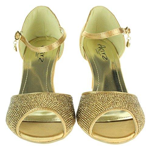 Mujer Señoras Diamante Peep Toe Correa de tobillo Tacón alto Noche Fiesta Nupcial Boda Paseo Sandalias Zapatos Tamaño Oro