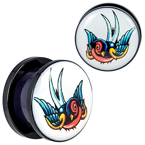 New Arrival - Screw Fit Black Acrylic Colorful Sparrow Design Ear Plugs - 5/8