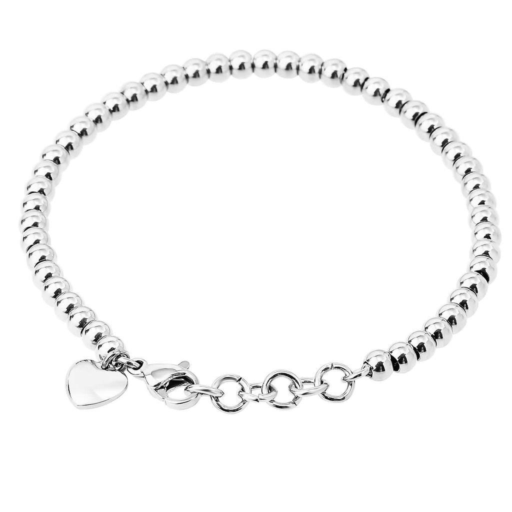 KnBoB Stainless Steel Bracelet Women Heart Love Beads Chain Bracelets KBPJSZ4W284RS