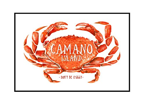 Camano Island, Washington - Don't be Crabby - Dungeness Crab - Watercolor (36x24 Framed Gallery Wrapped Stretched Canvas) by Lantern Press