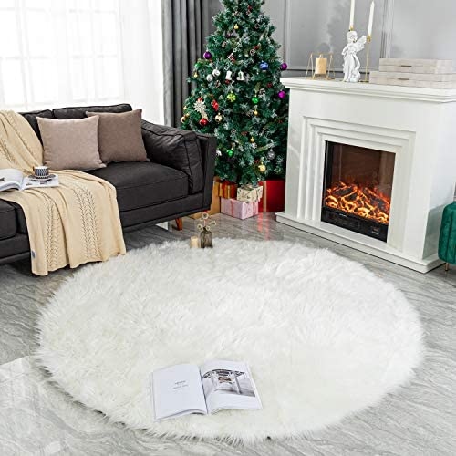 LEEVAN Plush Sheepskin Style Throw Round Rug Faux Fur Elegant Chic Style Cozy Shaggy Round Rug Floor Mat Area Rugs Home Decorator Super Soft Carpets Kids Play Rug 6 ft-Diameter