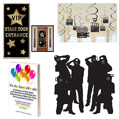 Hollywood Red Carpet Awards Ceremony Party Theme Supplies and Decorating Pack - 3 Items - Paparazzi Props, VIP Entrance Door Cover And Movie Theme Foil Swirls With Cutouts by Parties Can Be Simple Cut Out Swirl