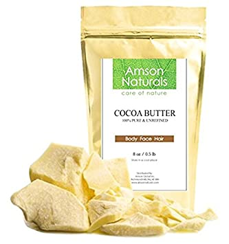 COCOA BUTTER - 100% Pure Unrefined Raw -16oz/1lb -by Amson Naturals-Natural moisturizer for Body Face Hand Foot Nail Hair-Fresh Supreme Quality