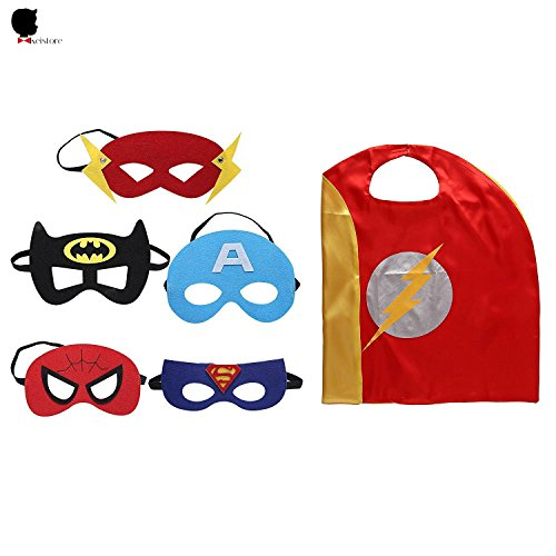Kei Store Cape And Mask Superhero Cartoon Dressing Up Costumes For Kids Comic Cartoon Birthday Party Game Supplies For Boy and Girl Set Of 5