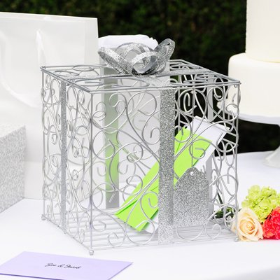 Cathys Decoration Concepts Table (Weddings SILVER Reception Gift Card Holder Box + White Metal LOVE Design Favor Frame)