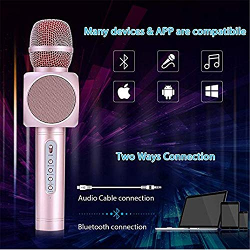 Wireless Karaoke Microphone 3 in 1 Portable Bluetooth Karaoke Player System with Two Built-in Speakers Compatible with Android & iOS for Home KTV Bar Party Muisc Playing Singing & Recording Wireless B by Xiuzhifuxie (Image #4)