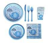 Boy Elephant Baby Shower Party Supplies Kit - Deluxe w/ Lunch and Dessert Plates, Napkins, Cups, and Cutlery