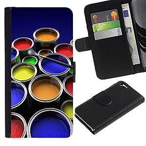 Billetera de Cuero Caso Titular de la tarjeta Carcasa Funda para Apple Iphone 5 / 5S / Painting Kit Art Drawing Color Pots Design / STRONG