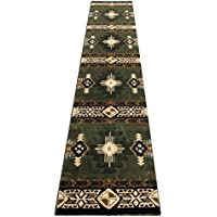 Champion Rugs Southwest Native American Area Rug Sage Green Design #CR127 (32 Inch X 15 Feet 6 Inch Runner)