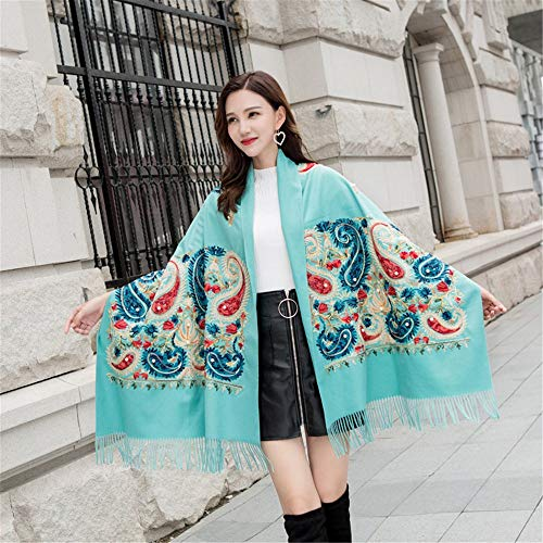 JYJSYMFZScarf Shawl Spring and Autumn Winter Embroidery Imitation Cashmere Scarf National Wind Cashew Beaded Shawl Warm Tassel, 03,200cm with Tassel Warm Sun Shade Decorative ()