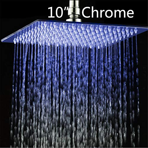 Bestyunyu 8/10/12/16/20/24 Inch LED Rain Shower Head Stainless Steel Rainfall Shower Head Bathroom Ultra-Thin B8136LED-10
