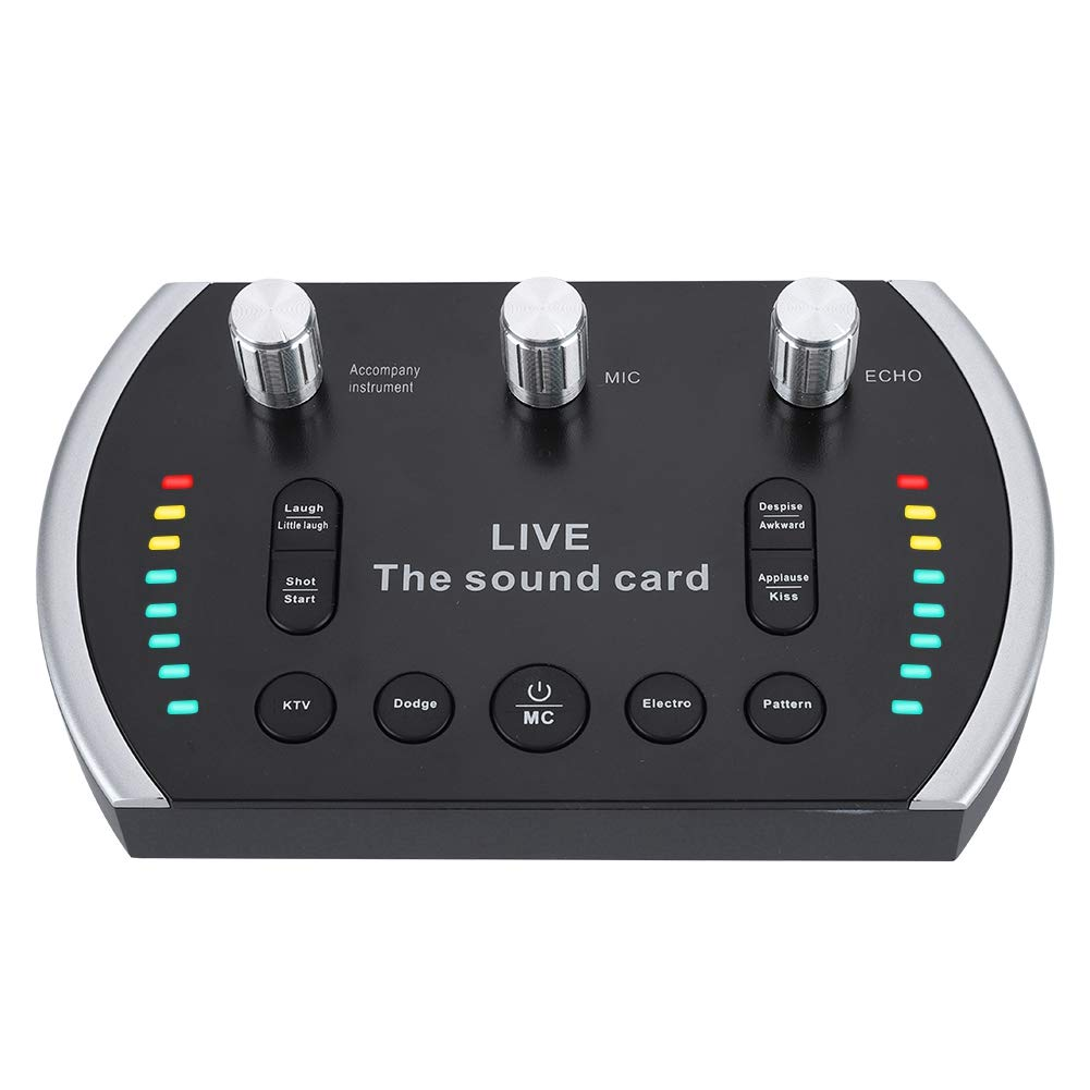 External Sound Cards, Intelligent Voice Sound Card with 8 Special Effects, LED Lights Flash Headphone and Microphone Live Sound Card for Laptops,Tablets,Dekstops.
