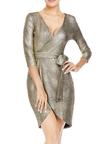Alofa Women V Neck Half Sleev High Waist Asymmetrical Hem Homecoming Dress Gold M
