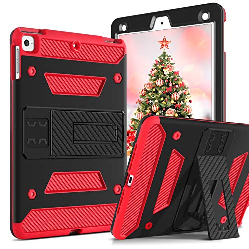 GUAGUA iPad Air 2 Case iPad Air 1 Case with Kickstand Shockproof Heavy Duty Three Layer High Impact Full-Body Rugged Protective Case for Apple iPad Air/iPad Air 2 Black/Red