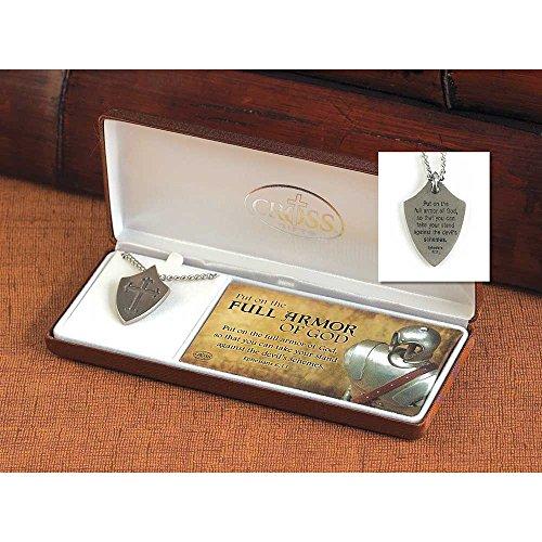 Full Armor of God Ephesians 6:11 Pewter Fleur de Lis Cross Shield Necklace - 24 inch Chain