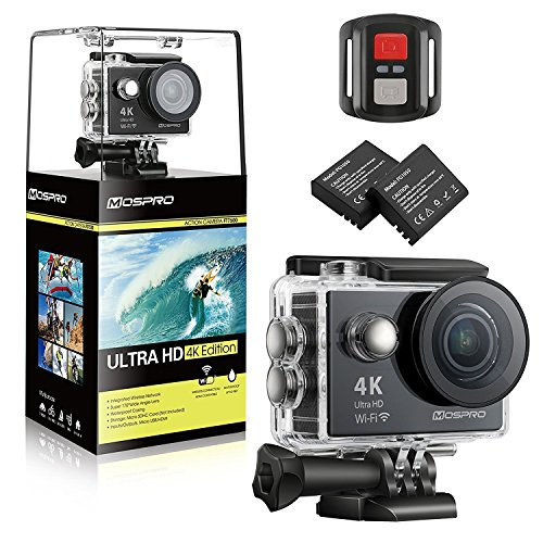 MOSPRO FT7500 Action Camera, 4K Ultra HD Wifi Waterproof 170 Degree Wide Angle 12 MP DV Camcorder Sports Camera with 2.4G Remote Control 2Pcs 1050mAh Batteries 19 Mounting Kits(2017 New) For Sale