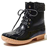 DailyShoes Women's Warm Snow Booties Up Ankle High Cashmere Collar Duck Padded Mud Rubber Rain Boots