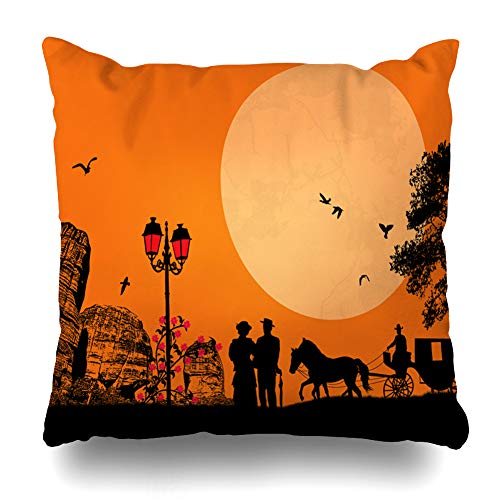 Ahawoso Throw Pillow Cover Nostalgic Orange Cart Couple Old Horse Carriage On Driver West Scene Parks Stagecoach Wagon Design Zippered Pillowcase Square Size 20 x 20 Inches Home Decor Pillow Case
