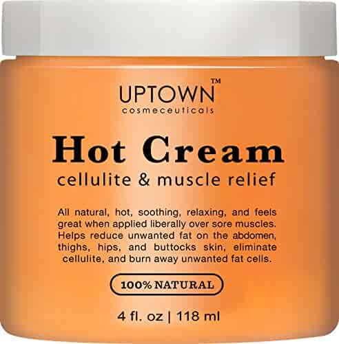 Uptown Cosmeceuticals Hot Anti Cellulite Cream 4 fl. oz. - 100% Natural Cellulite Treatment, Promotes Supple & Toned Skin, Muscle Relaxant & Pain Relief Cream