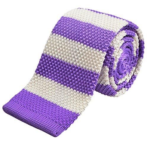 Mince Homme En Rayures crème Cravate Blanc violet À Alizeal Tricot 6 1ZwOxCq