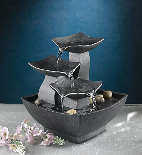 CC Home Furnishings 8 Elegant Asian Inspired Cascading Modern Leaf Indoor Table Top Water Fountain