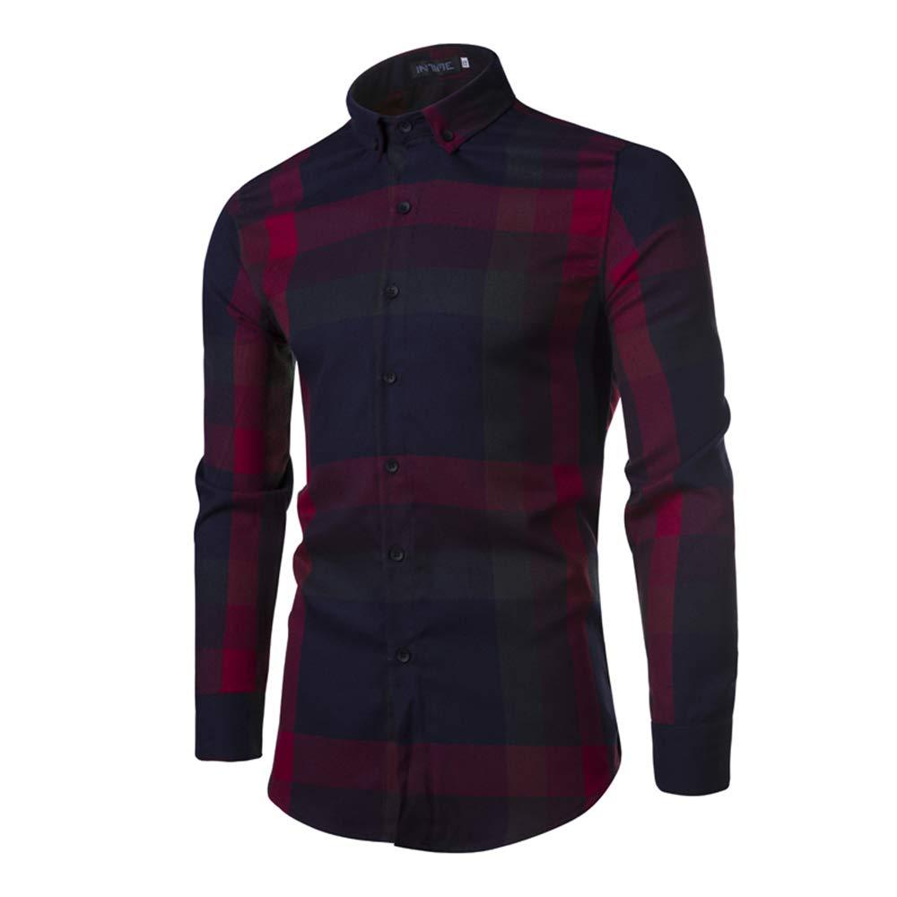 Linson123 Mens Shirt Long Sleeve Lapel Fashion Big Plaid Shirt Slim Corduroy Shirt